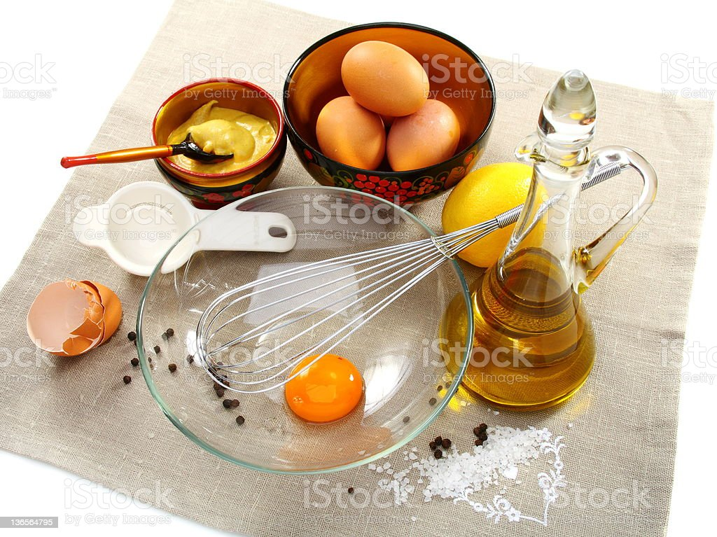 Products for home preparation of mayonnaise. royalty-free stock photo