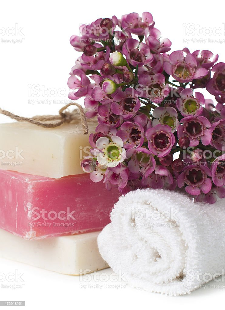 Products for spa in pink royalty-free stock photo