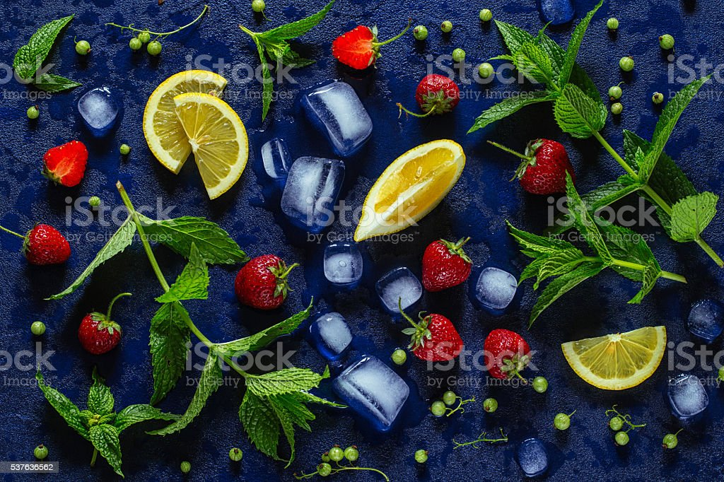Products for strawberry mojito, top view stock photo