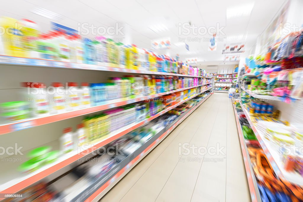 Products in row in a supermarket stock photo