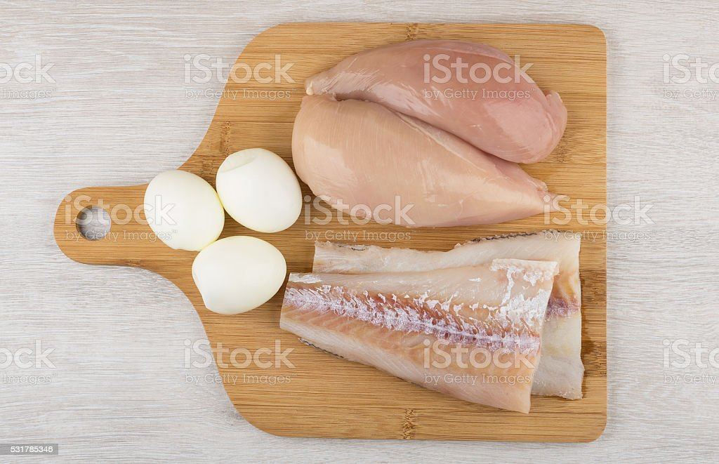 Products in which lot of protein on wooden board stock photo
