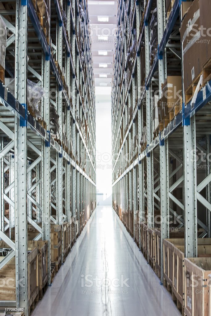 Products stored in an industrial warehouse stock photo