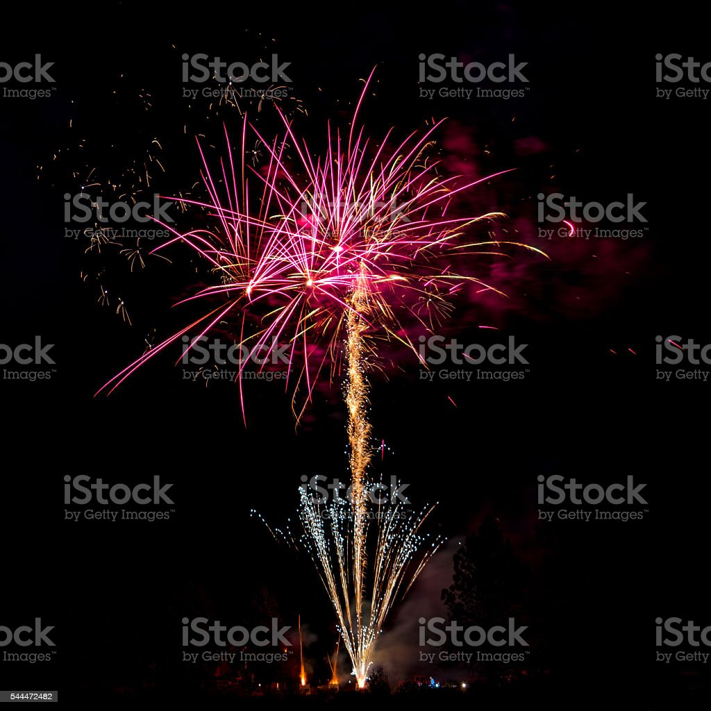 Profesional fireworks with view of blast station stock photo