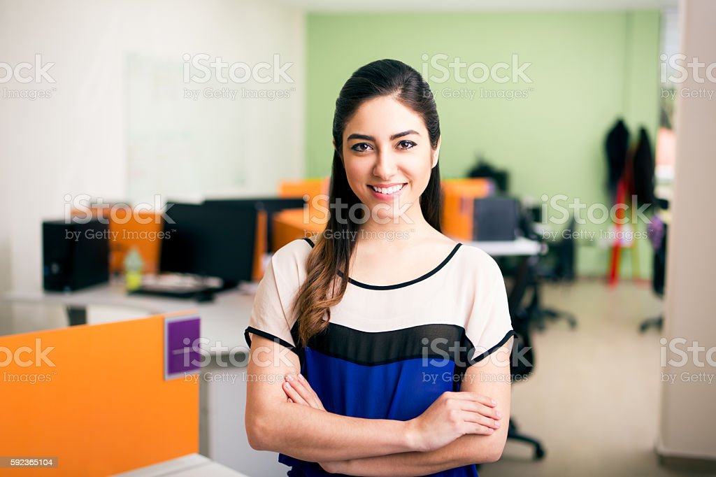Professinal female worker standing stock photo