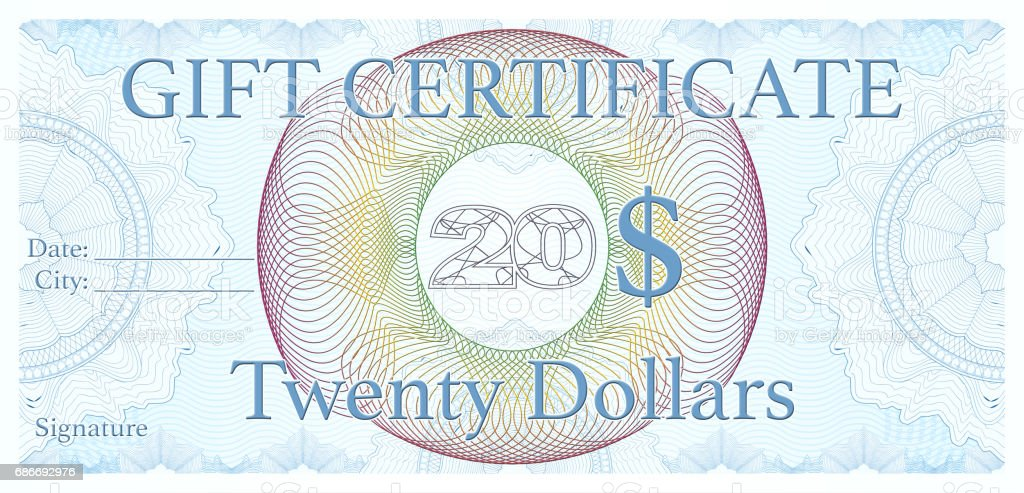 professional 20$ Gift certificate, designed as an official cheque vector art illustration