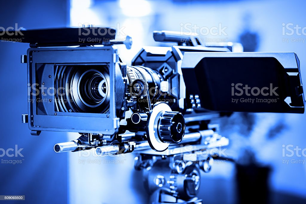 Professional 4k production video camera in studio stock photo