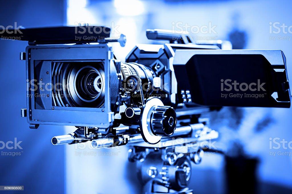 Professional 4k production video camera in studio stock photo