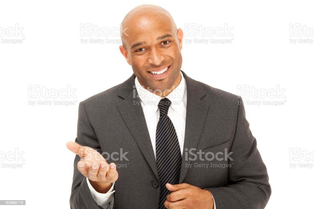 Professional African American Businessman in a suit gesturing hand raised royalty-free stock photo
