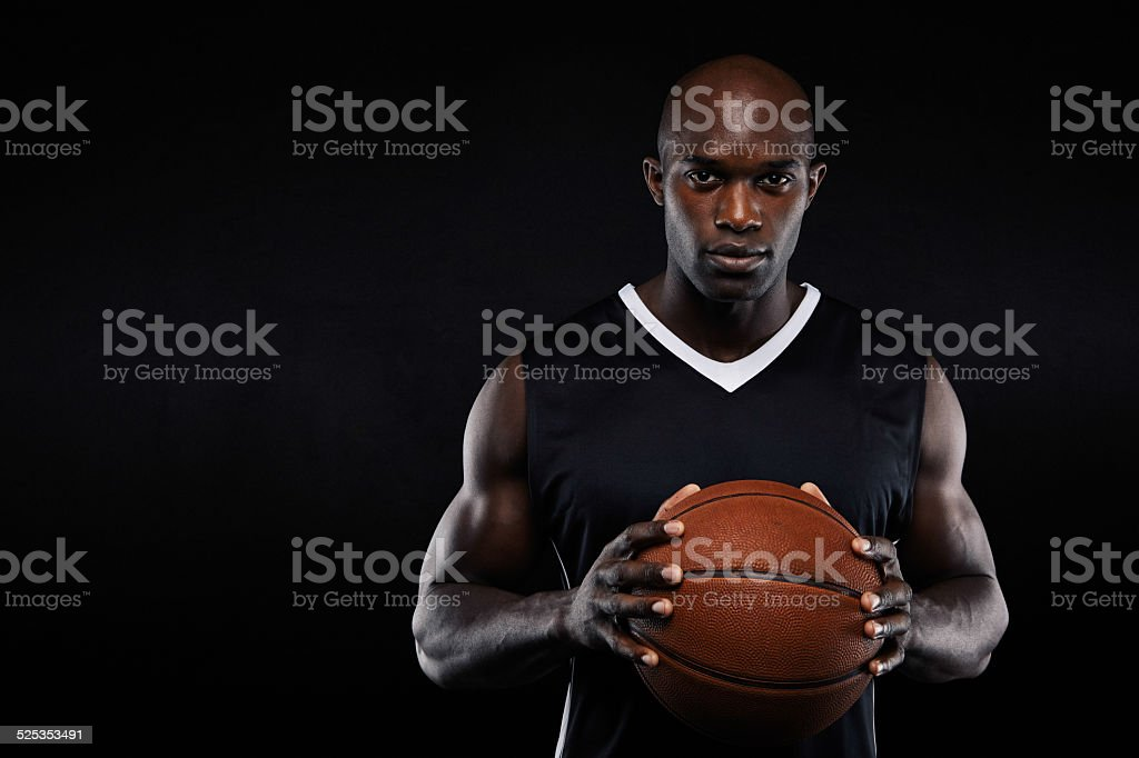 Professional african basketball player stock photo