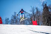 Professional Alpine Skier in Mid-Air