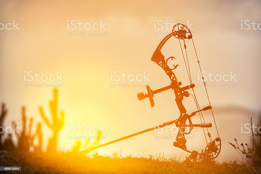 professional arrow in sunset time stock photo