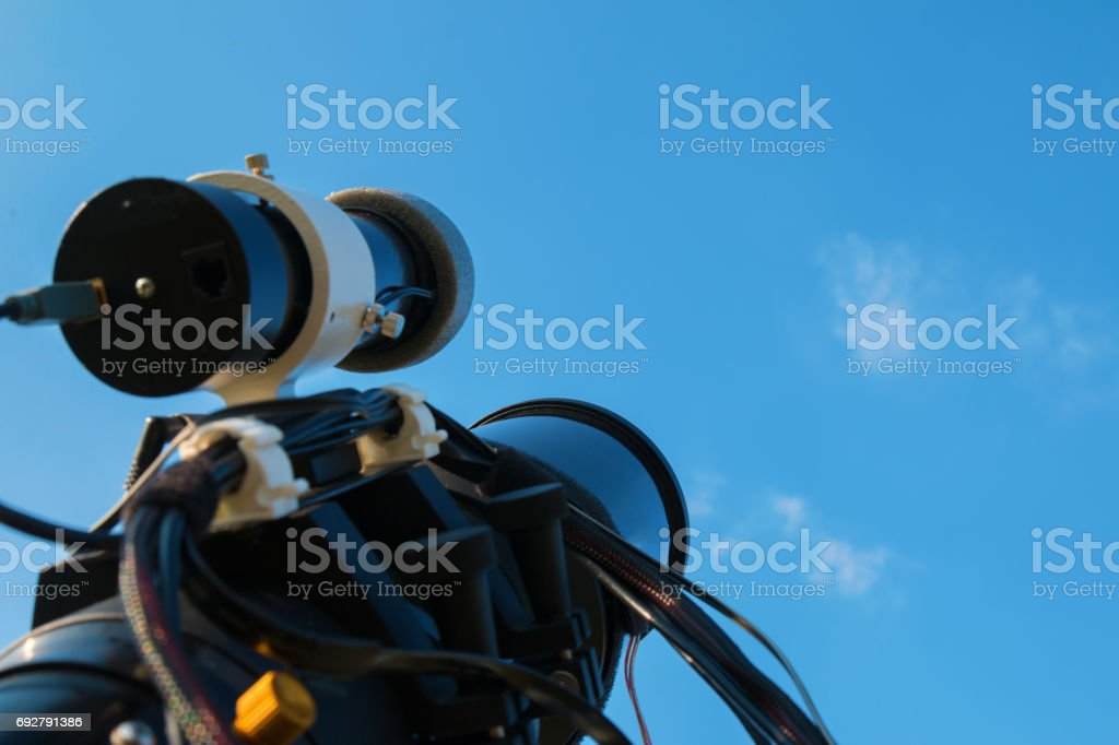 Professional astrophotography equipment waiting for the night stock photo