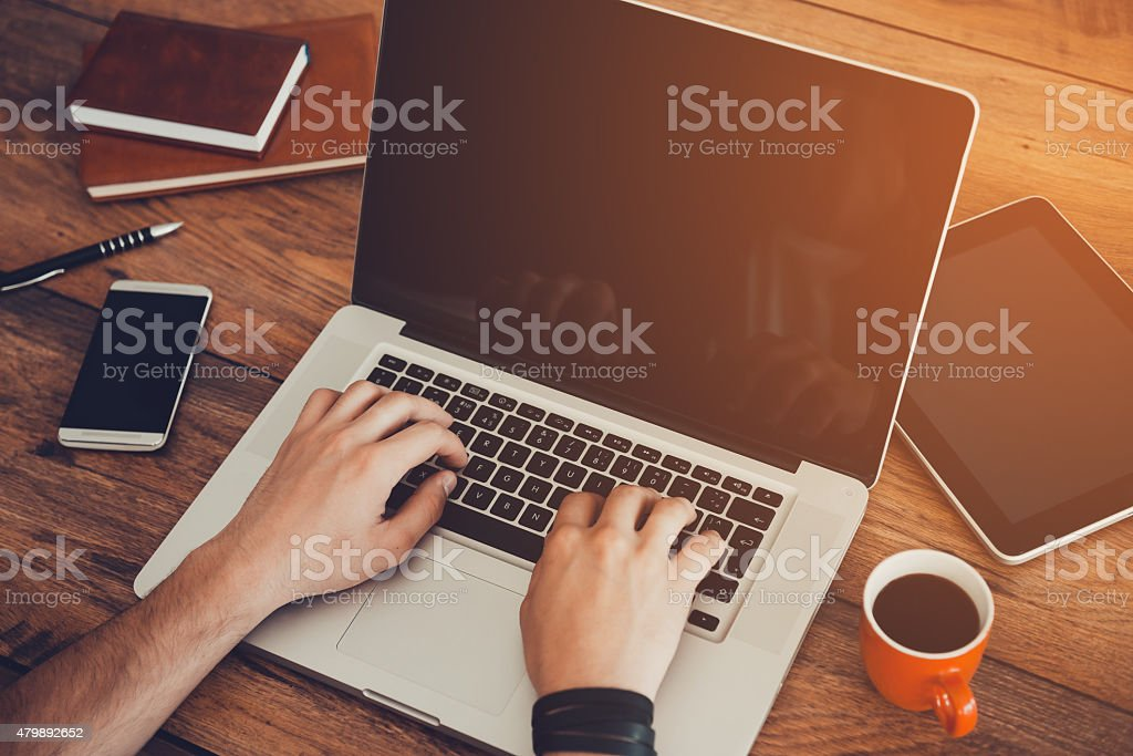 Professional at work. stock photo