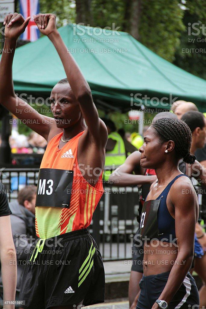 Professional Athletes Warming up at the 2012 10k Run royalty-free stock photo
