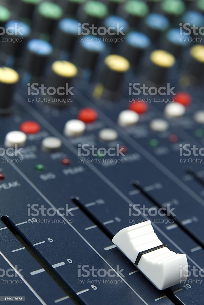 Professional audio mixer equipment with buttons royalty-free stock photo