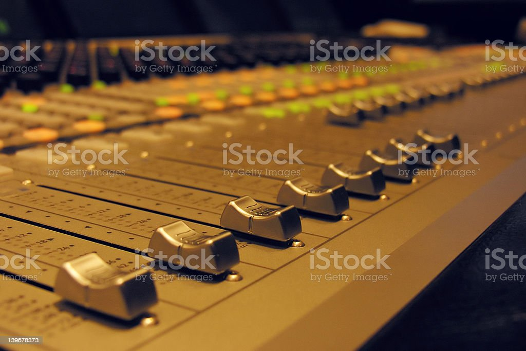 Professional audio mixing board royalty-free stock photo