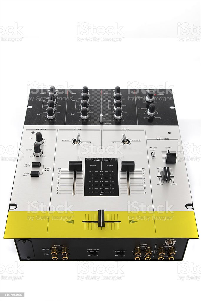 Professional audio mixing controller for DJ stock photo