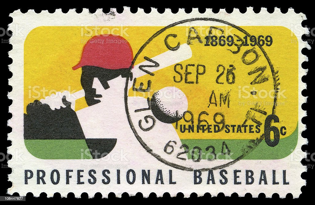 Professional Baseball Anniversary Stamp royalty-free stock photo