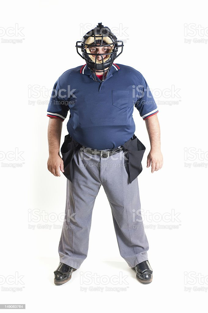 Professional baseball umpire in uniform on white background royalty-free stock photo
