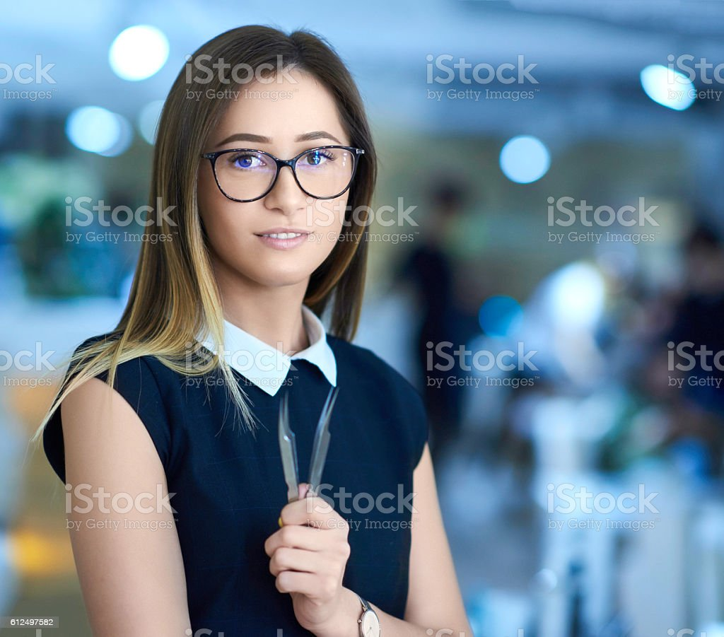 professional beautician portrait stock photo
