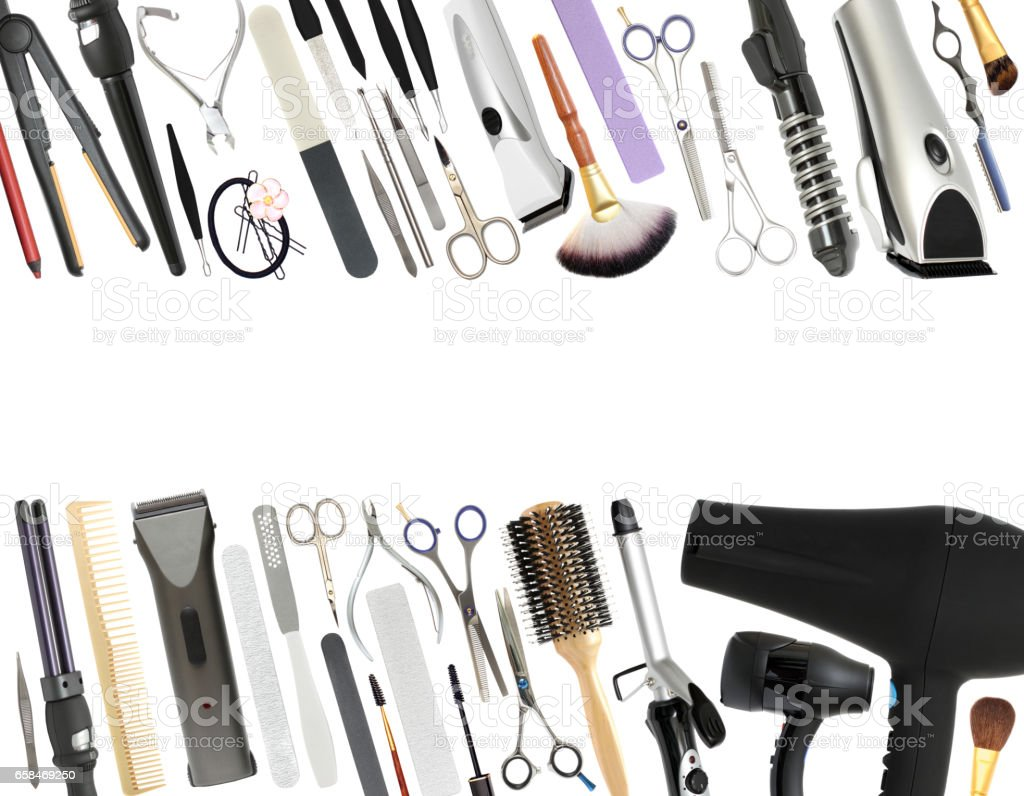 Professional Beauty Salon and Barber shop Equipment Isolated on White Background stock photo