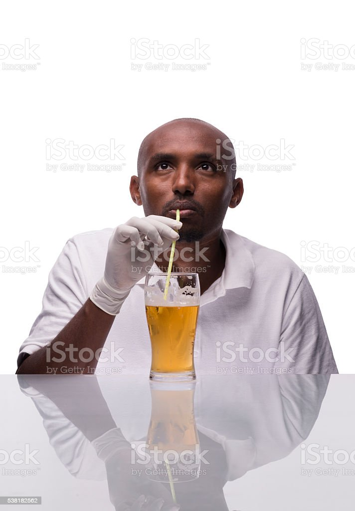 Professional beer taster. stock photo