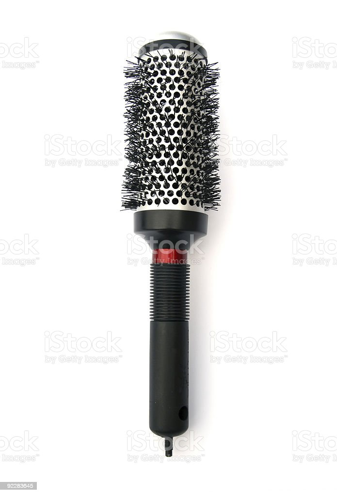 Professional black circular hairbrush isolated on white royalty-free stock photo
