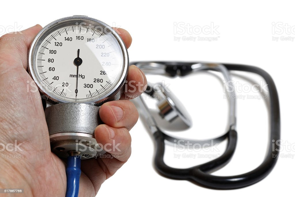 Professional Blood Pressure Kit isolated on white. stock photo