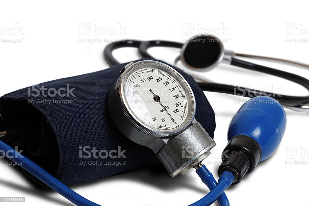 Professional Blood Pressure Kit isolated on white. Shallow focus. stock photo