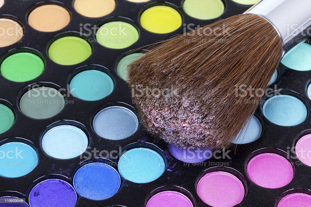 Professional brush on eyeshadows palette royalty-free stock photo