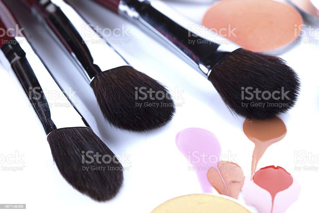 Professional brushes for applying blush stock photo