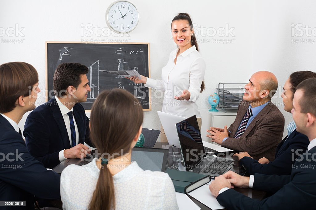 Professional business team at meeting stock photo