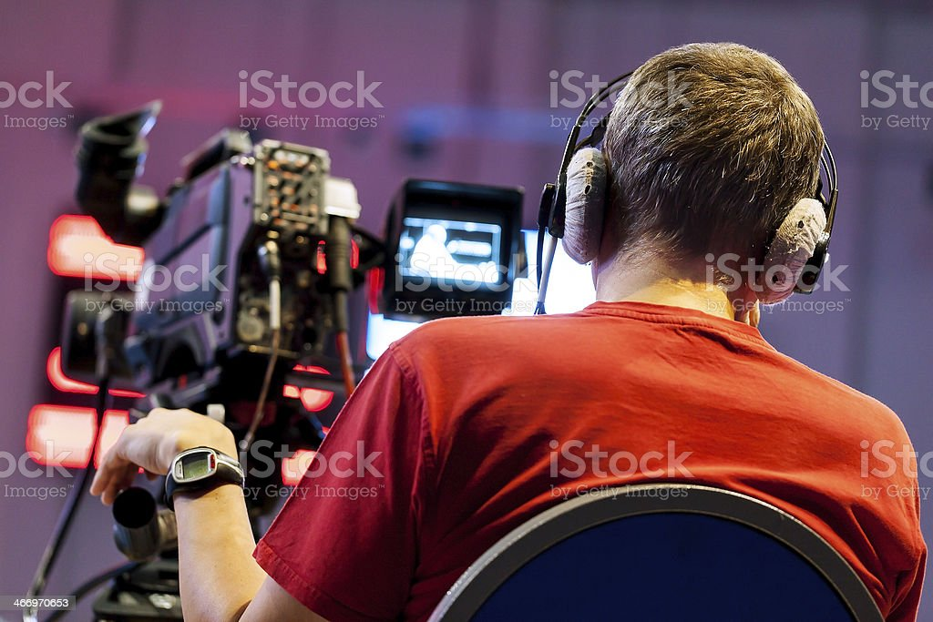 Professional cameraman royalty-free stock photo