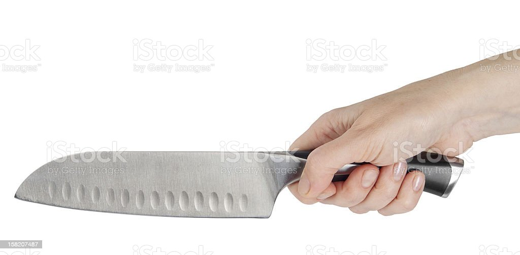 Professional chef big knife in hand royalty-free stock photo