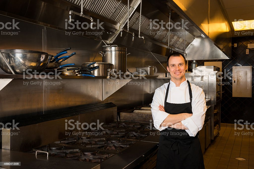Professional Chef portrait in a commercial kitchen stock photo