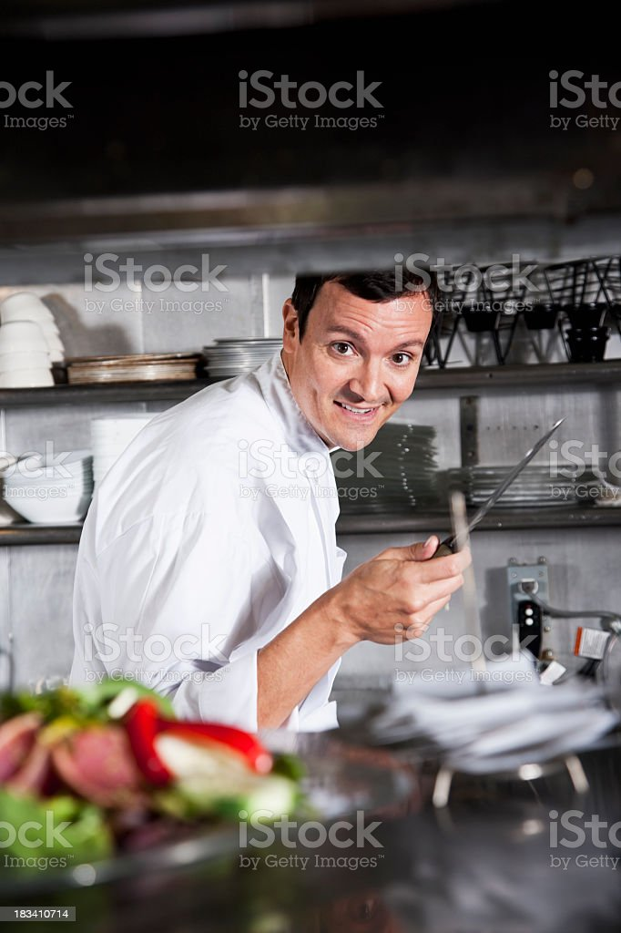 Professional chef working in commercial kitchen stock photo
