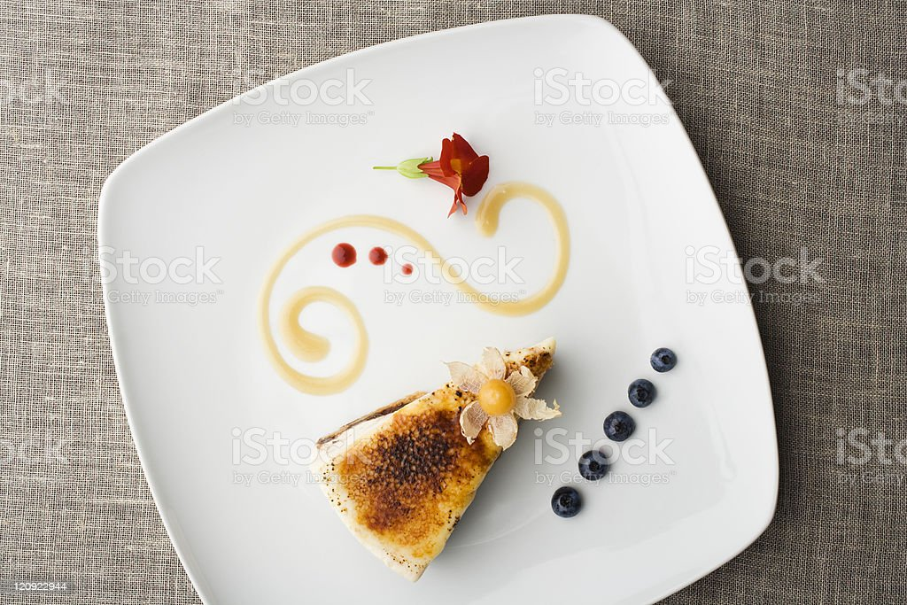 Professional chefs favorite cake on a white plate stock photo