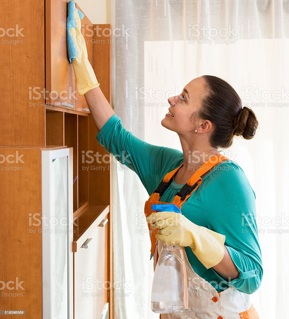 professional cleaner  cleaning the office stock photo