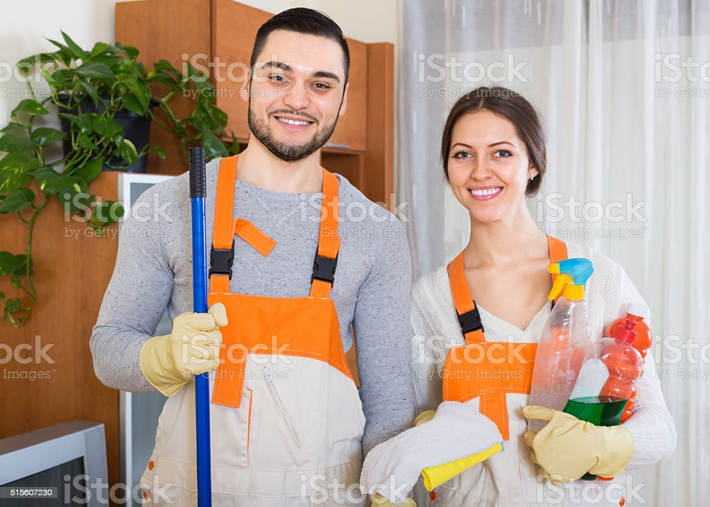 Professional cleaners at work stock photo