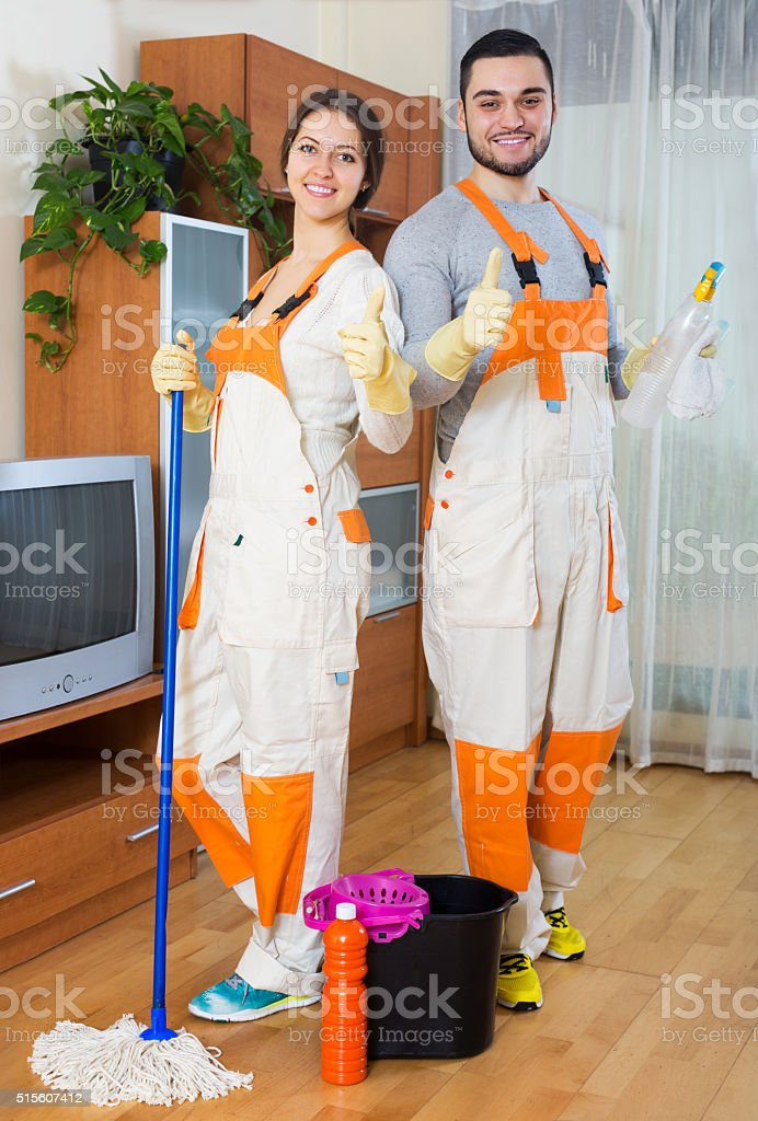 Professional cleaners cleaning stock photo