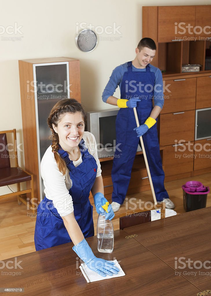 Professional cleaners stock photo