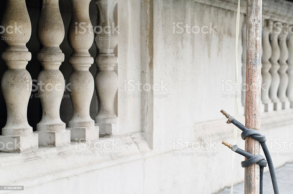 Professional cleaning of buildings by means of water jets stock photo