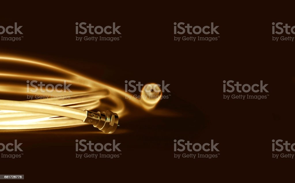 Professional coaxial cable RG6 and TV type stock photo
