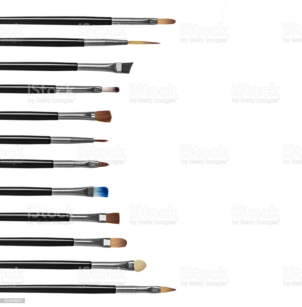 Professional collection of makeup brushes stock photo