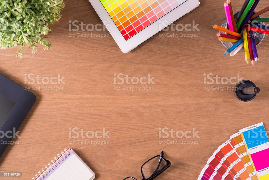 professional creative graphic designer desk stock photo