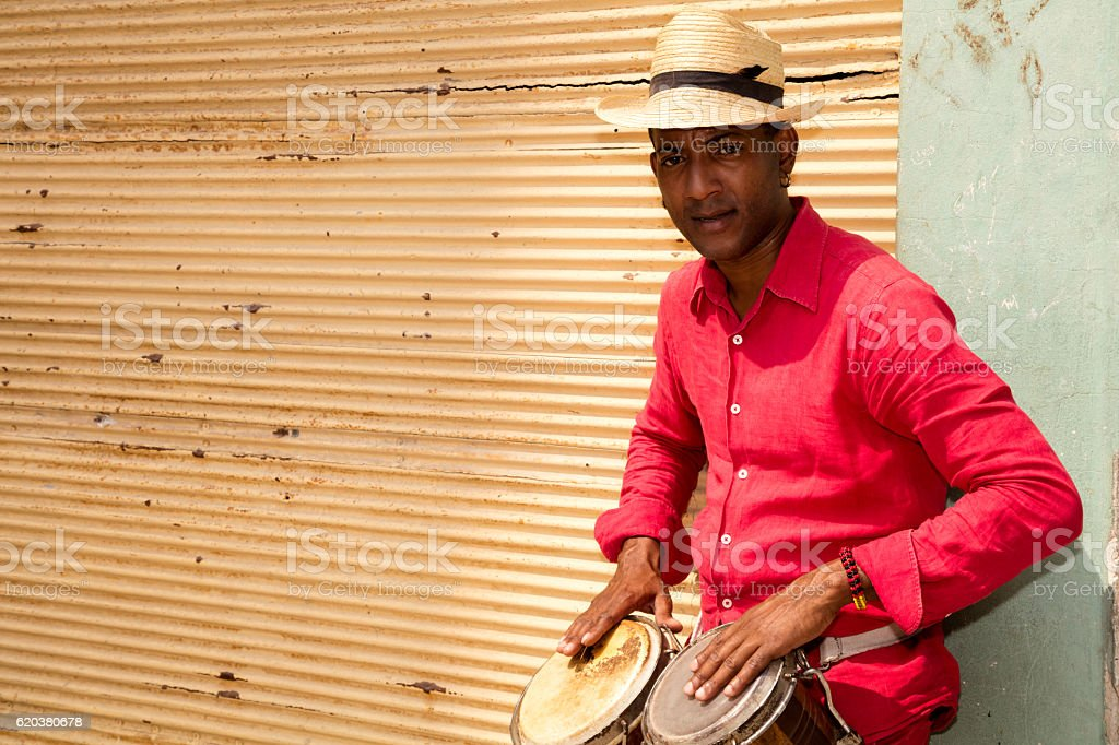 Professional Cuban Conga Drum Player, Havana, Cuba stock photo