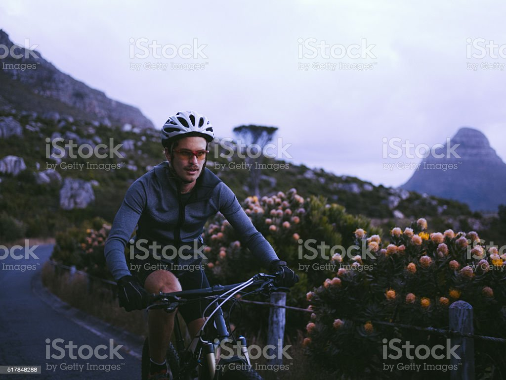 Professional cycling sport enthusiast with proper protective wear stock photo