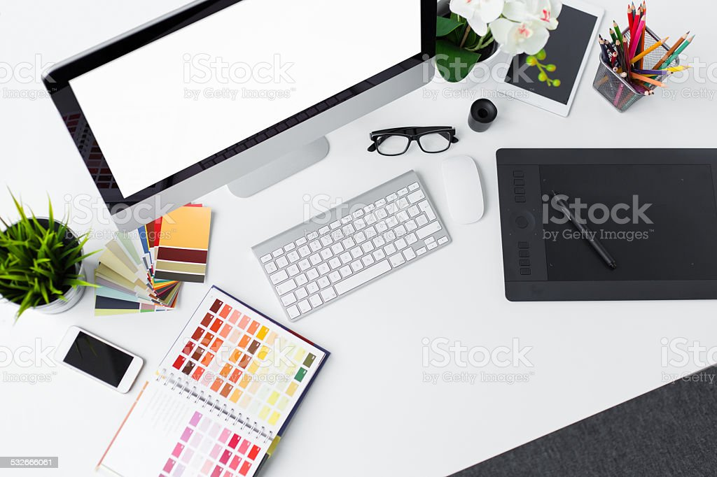 Professional designer's desk top stock photo