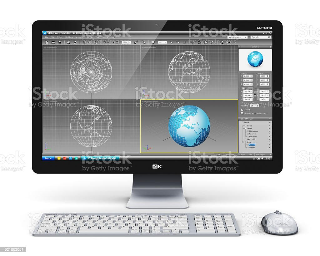 Professional desktop computer workstation stock photo