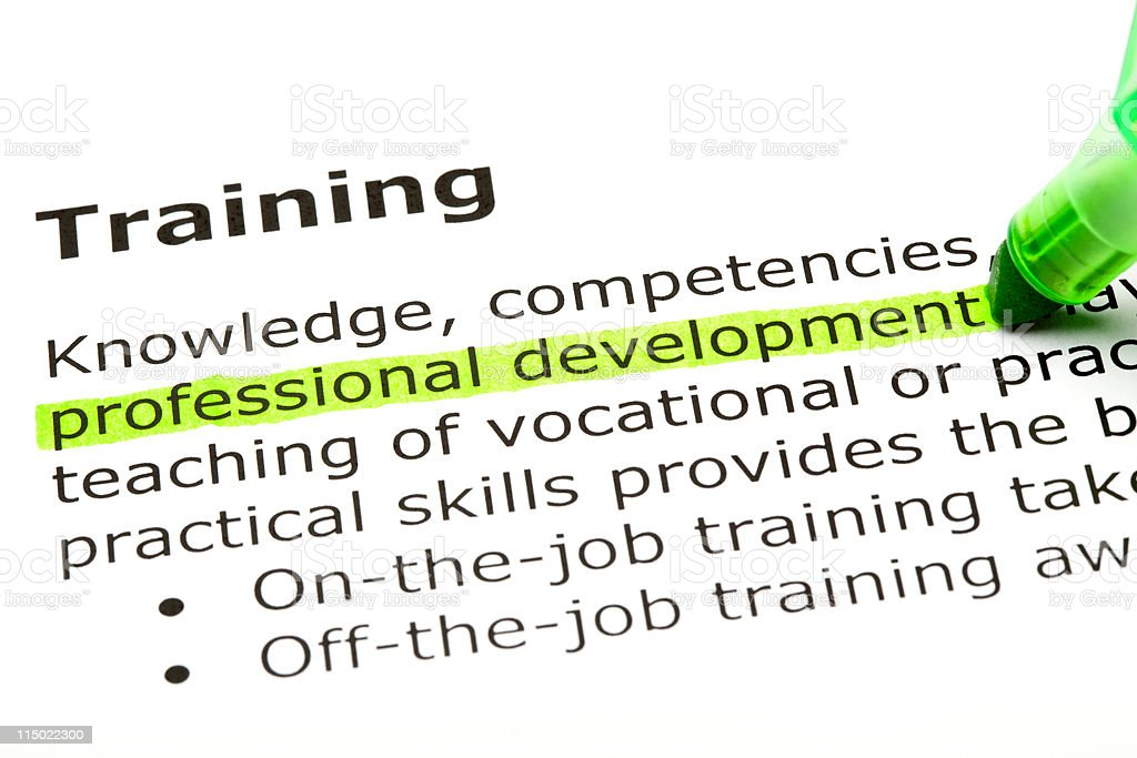 Professional development highlighted in green royalty-free stock photo